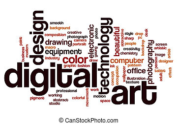 Digital art word cloud concept