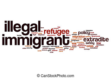 Illegal immigrant word cloud concept