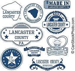 generic stamps and signs of Lancaster county, PA - Set of...