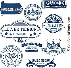 generic stamps and signs of Lower Merion townhip, PA - Set...