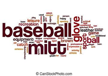 Baseball mitt word cloud concept