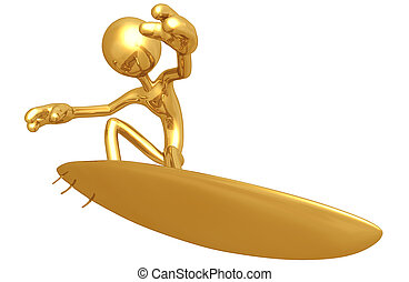 Gold Guy Surfing - A Concept And Presentation Figure In 3D
