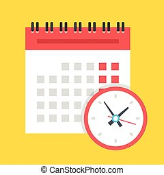 Vector calendar and clock icon. Schedule, appointment,...