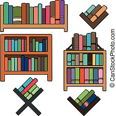vector set of bookshelf
