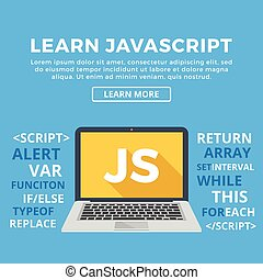 Laptop with JS word on screen. Learn Javascript, web...