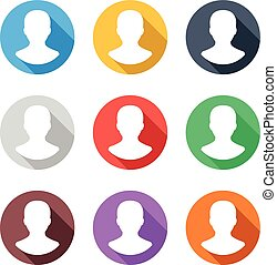 User avatars icons set. Long shadow flat design concept....