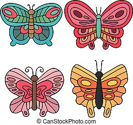 vector set of butterfly