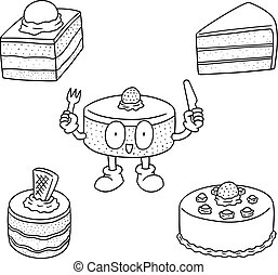 vector set of cake