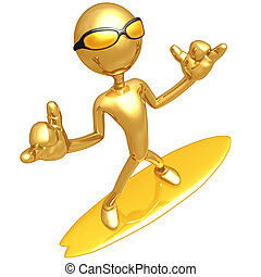 Gold Guy Surfer - A Concept And Presentation Figure In 3D