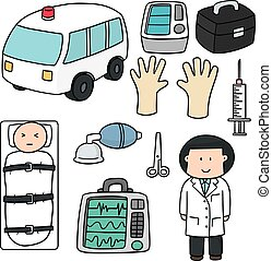 vector set of medical equipment