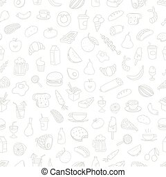 Different food doodles seamless background. Lineart...