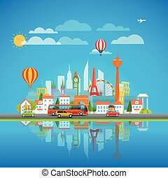 Vacation travelling concept. Around the world vector illustration