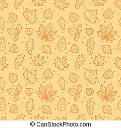 Different leaves silhouettes seamless pattern