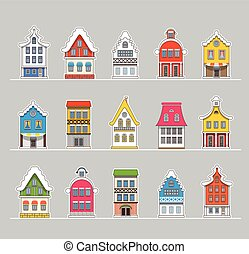 Colorful traditional Amsterdam vintage houses vector set