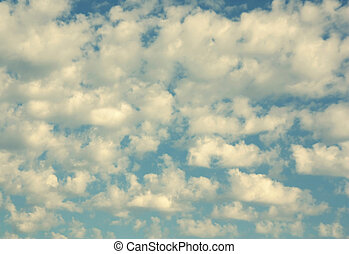 Beautiful blue sky with clouds, air nature