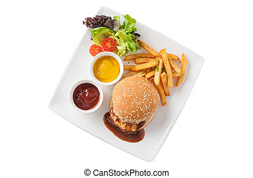 Pork burger set - Top view of American style barbecue pork...