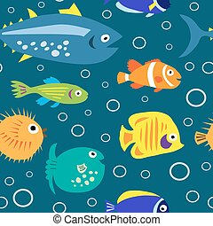 Seamless texture with marine fish and bubbles - Seamless...