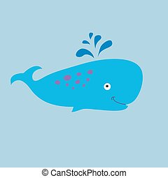 Funny sperm whale on a blue background - Funny sperm whale...