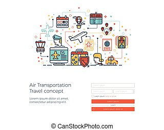 Air transportation travel concept illustration for landing...