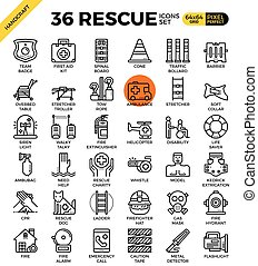 Rescue concept icons - Rescue emergency outline icons...