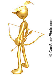 Gold Guy Archer - A Concept And Presentation Figure In 3D
