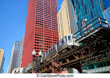 Elevated train in Chicago - Chicago downtown urban...