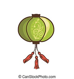 Chinese lantern. Vector illustration. Isolated on white...