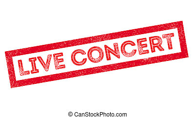 Live Concert rubber stamp on white. Print, impress,...