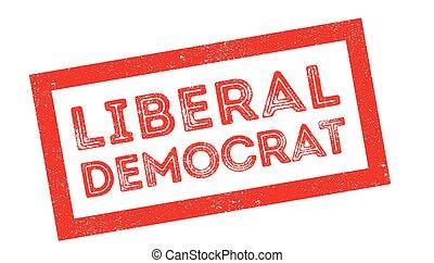 Liberal Democrat rubber stamp on white. Print, impress,...