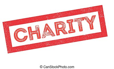 Charity rubber stamp on white. Print, impress, overprint.