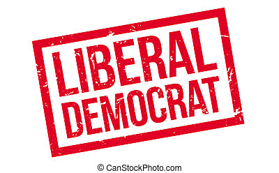 Liberal Democrat rubber stamp on white. Print, impress,...