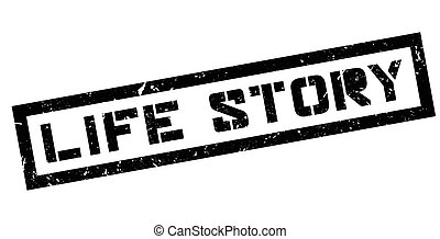 Life Story rubber stamp on white. Print, impress, overprint.