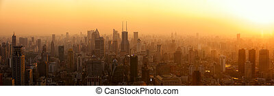 Shanghai panorama at sunset