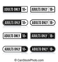 Set of stamps for adults only, vector illustration - Set of...