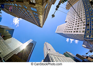 Midtown Manhattan skyscrapers looking up, New York City