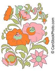 flowers bouquet Floral folk - Ethnic flowers bouquet Floral...