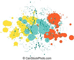 Yellow, blue and orange blobs