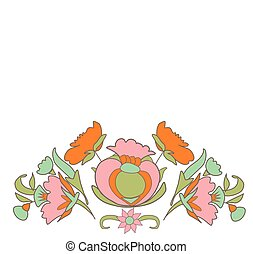 Vintage frame - Vintage flowers on white background border