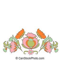 Vintage frame - Vintage flowers on white background border