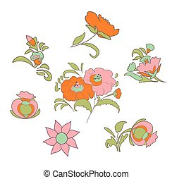 card083.eps - Set of fabulous vintage flowers in ethnic folk...
