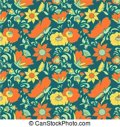 Folk art floral pattern - Folk art seamless floral pattern...