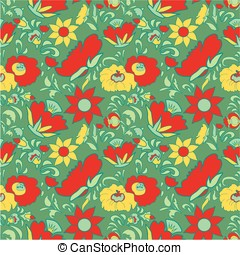 Flower pattern - Folk art seamless floral pattern Ethnic...
