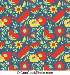 card091.eps - Folk art seamless floral pattern Ethnic...
