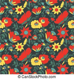 Flowers folk art style - Folk art seamless floral pattern...