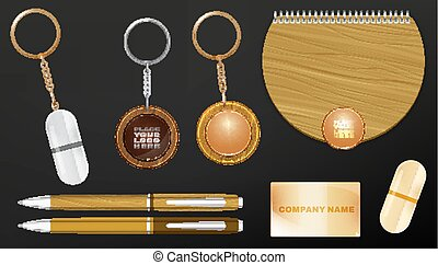 Wooden Promo Set - Vector illustration of a wooden and metal...