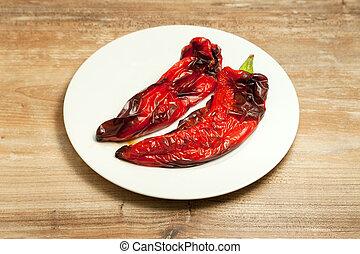 grilled vegetables peppers on plate - grilled vegetables...