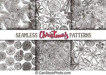 Set of six seamless Christmas patterns - Set of six seamless...