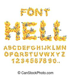 Hell font. inferno ABC. Fire letters. Sinners in hellfire....