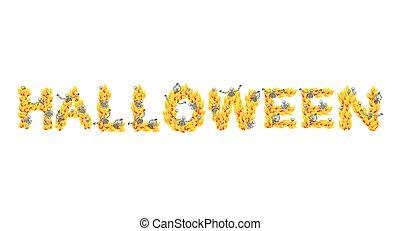 Fire Halloween letters. Skeletons in hell. Sinners in...