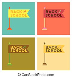 assembly flat icons Back to school flag